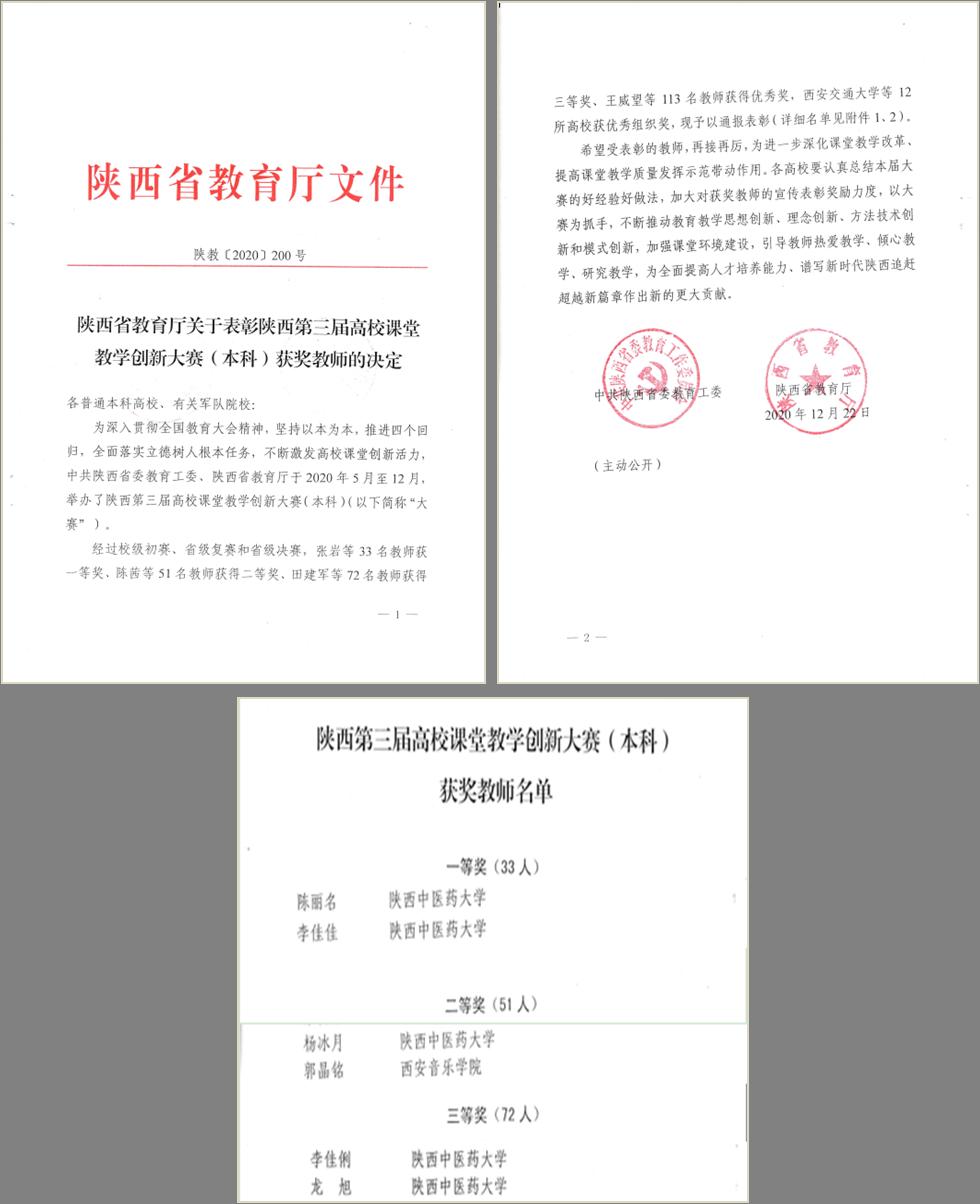 我院教师参加陕西省第三届课堂教学创新比赛获得佳绩